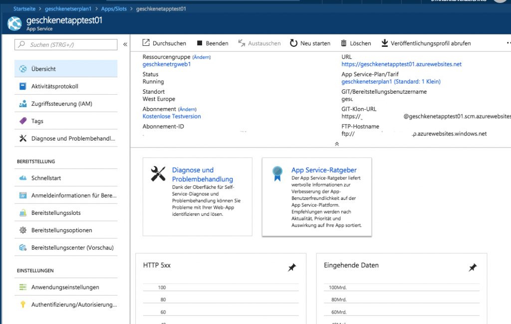 Microsoft Azure App Service: erster Test und Erfahrungen 6
