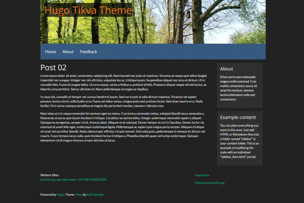 Tikva Theme for Hugo 1